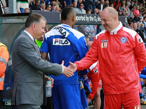 Darren Ferguson shakes hands with Rochdales Keith Hill