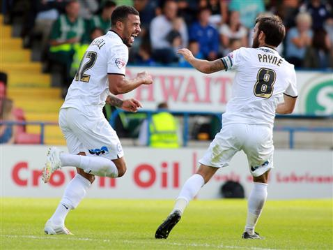 Kyle Vassell and Jack Payne celebrates goal v Rochdale