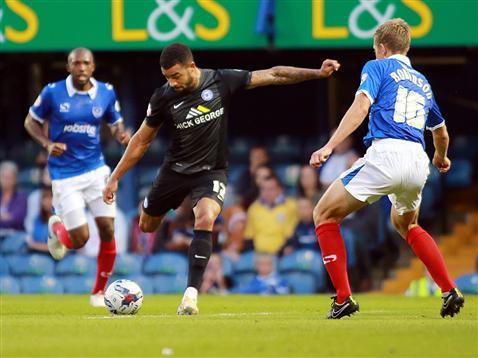 Kyle Vassell takes aim for a rare strike on target v Portsmouth