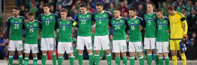 Micheal Smith lines up for his Northen Ireland debut v Slovenia in March 2016