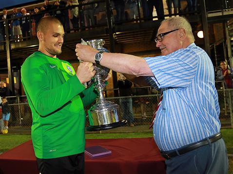 Posh v Daventry - Bobby Olejnik receives the Maunsell Cup Trophy