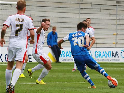 Kenny McEvoy strikes the first goal v MK Dons