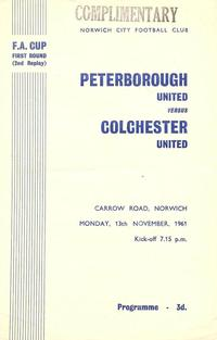 Posh v Colchester FA Cup first round 2nd replay programme