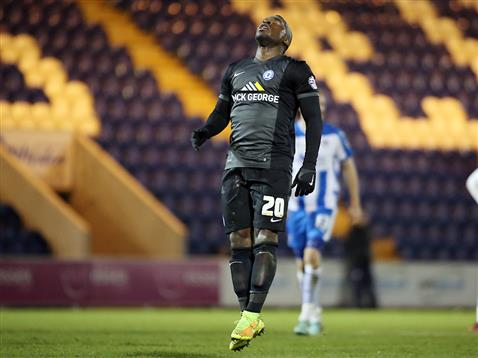 Aaron McLean after missing a penalty in the 88th minute v Colchester
