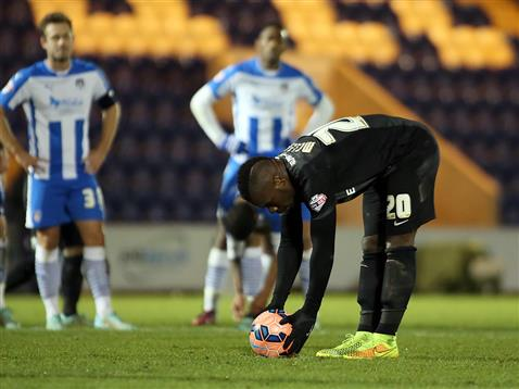 Aaron McLean preparing to miss a penalty in the 88th minute v Colchester