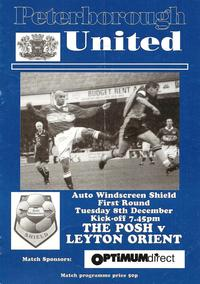 Auto-Windscreen Shield League Trophy - Posh v Leyton Orient programme