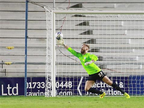 Ben Alnwick concedes at his near post v Leyton Orient