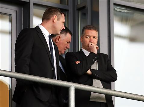 Darragh MacAnthony with Darren Ferguson and Bob Symns pre-match v Chesterfield