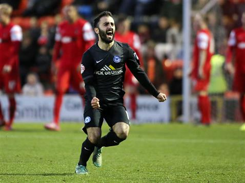 Erhun Oztumer celebrates his first goal in the League v Leyton Orient 2