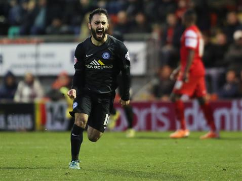 Erhun Oztumer celebrates his first goal in the League v Leyton Orient