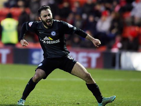Erhun Oztumer celebrates his goal v Leyton Orient