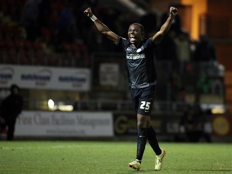 Gaby Zakuani celebrates a much needed win over his former club Leyton Orient