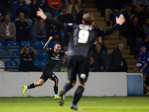 Jon Taylor celebrates his first Posh goal v Gillingham
