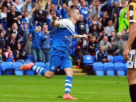 Marcus Maddison celebrates the opening goal v Port Vale