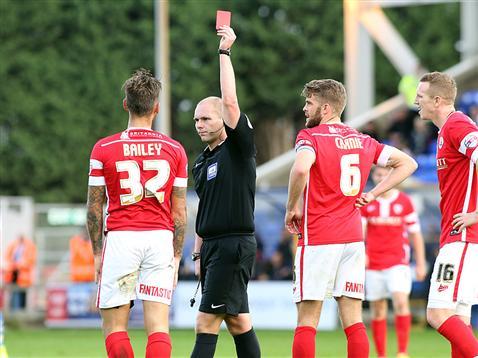 Referee Charles Breakspear sends off Barnsley player v Posh