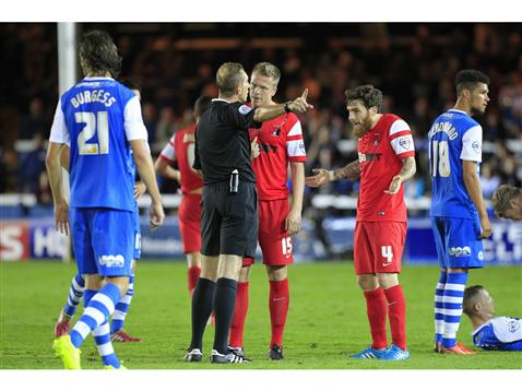 Referee Keith Hill sends off Leyton Orients Romain Vincelot against Posh 2