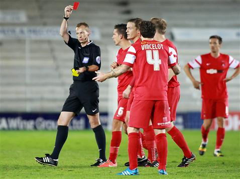 Referee Keith Hill sends off Leyton Orients Romain Vincelot
