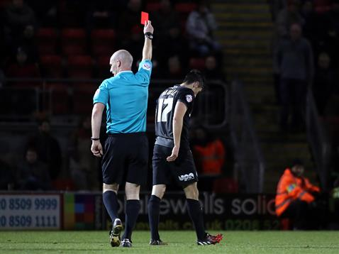 Referee Kevin Johnson sends off Joe Newell v Leyton Orient