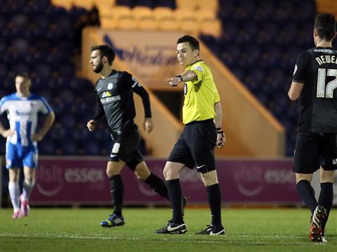Referee Tony Harrington - Colchester v Posh