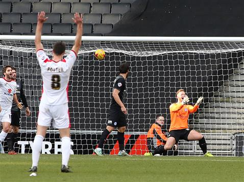 Ben Alnwick fails to save another goal bound effort v MK Dons