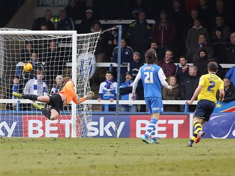 Ben Alnwick stands no chance with goal v Rochdale