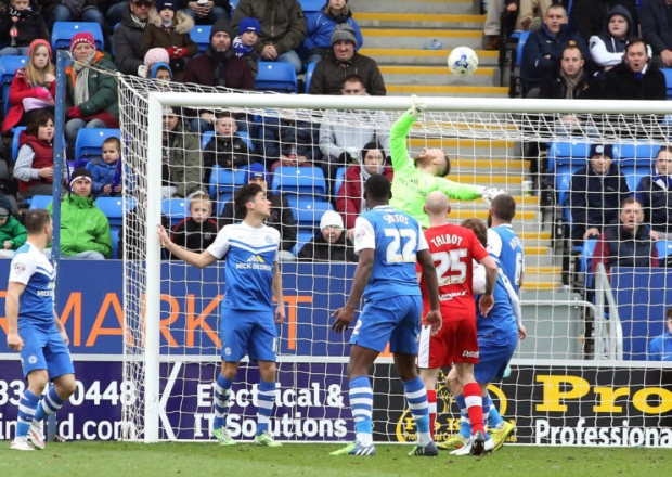 Ben Alnwick tips the ball over the crossbar v Chesterfield