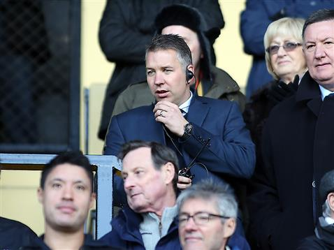 Darren Ferguson sat in the stand v Notts County 2
