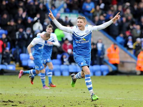 Harry Beautyman celebrates his first goal for Posh v Yeovil