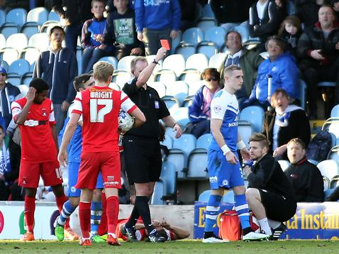 Marcus Maddison being shown red card by referee Mark Brown v Leyton Orient 2