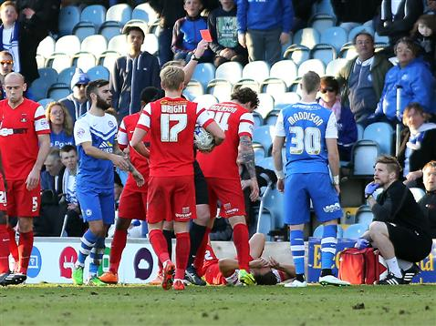 Marcus Maddison being shown red card by referee Mark Brown v Leyton Orient