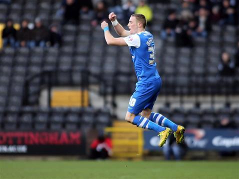Marcus Maddison celebrates the opening goal v Notts County 2
