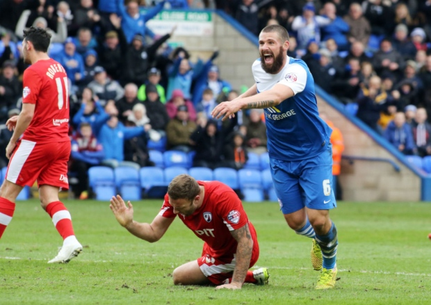 Michael Bostwick celebrates scoring the only goal of the game v Chesterfield