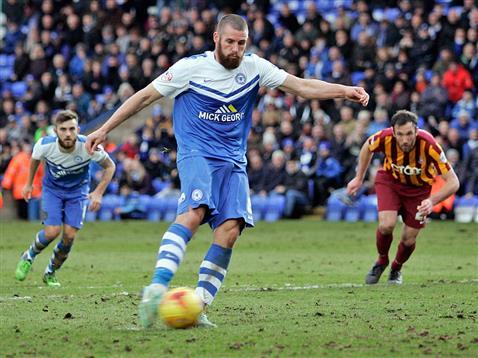 Michael Bostwick strikes the penalty for goal 2 v Bradford