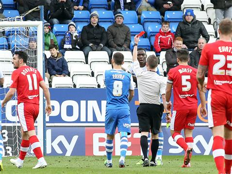 Referee Rob Lewis sends off Ricardo Santos for a second bookable offence v Chesterfield