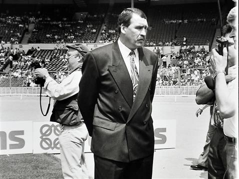 Chris Turner facing the press on the pitch at Wembley 1992
