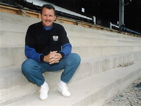 Chris Turner in the main stand during development of the lower seating area