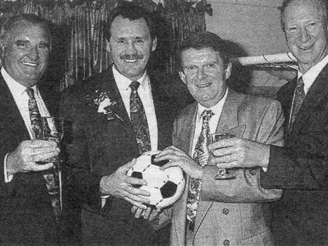 Chris Turner with Noel Cantwell and Jack Charlton
