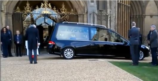Chris Turners coffin arrives at Peterborough Cathedral