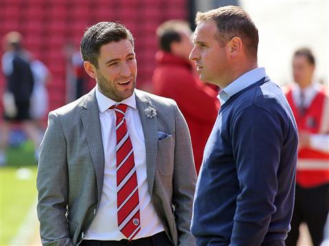 Dave Robertson with Barnsleys Lee Johnson