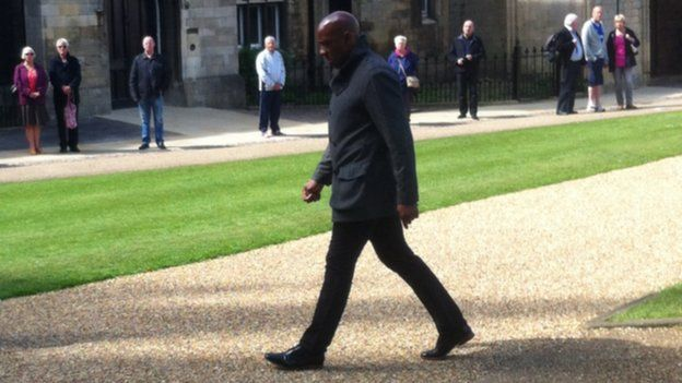 Dion Dublin arrives for Chris Turners funeral