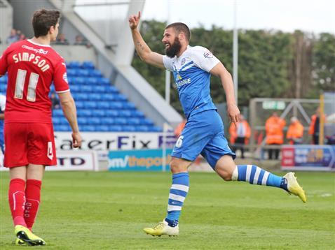 Michael Bostwick celebrates goal no 2 v Crawley