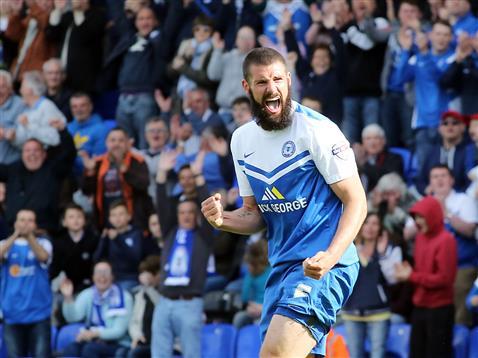 Michael Bostwick celebrates goal no 3 v Crawley