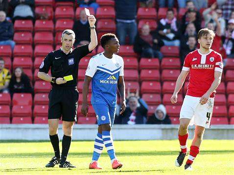 Referee Seb Stockbridge harshly sends off Kgosi Ntlhe v Barnsley