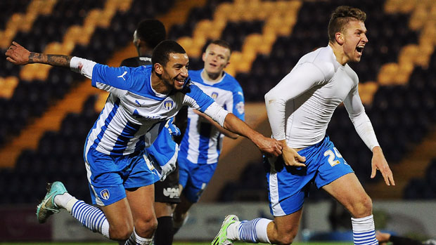 George Moncur celebrating scoring the added-time winner in the FA Cup for Colchester v Posh - 2014-2015