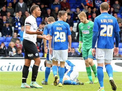Jon Edwards pleading his innocence before being sent off v Oldham