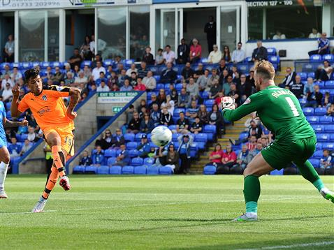 Ben Alnwick stood no chance for Colchesters goal by Macauley Bonne