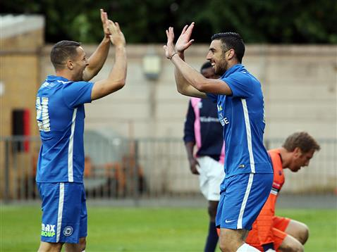 Joe Gormley celebrates scoring v Dulwich Hamlet