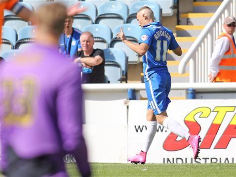 Marcus Maddison celebrates goal number 1 v Colchester