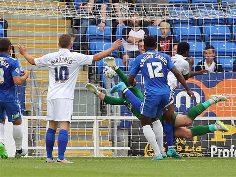 Ben Alnwick cant stop Gillingham taking the lead in the 85th minute