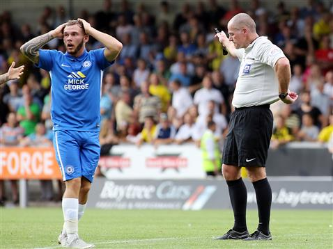 Jon Taylor cant believe referee Graham Salisbury has disallowed an equaliser v Burton